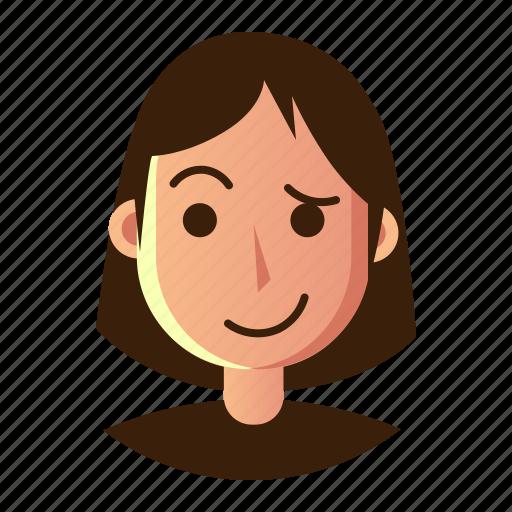 avatar, emoticon, hestitate, people, smiley, user, woman icon