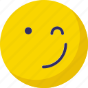 bemused face, emoticons, lour, wink icon