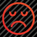 emoji, emoticon, emotion, expression, moody, sad, unwell icon