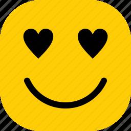 emoticon, expression, happy, love, smiley icon