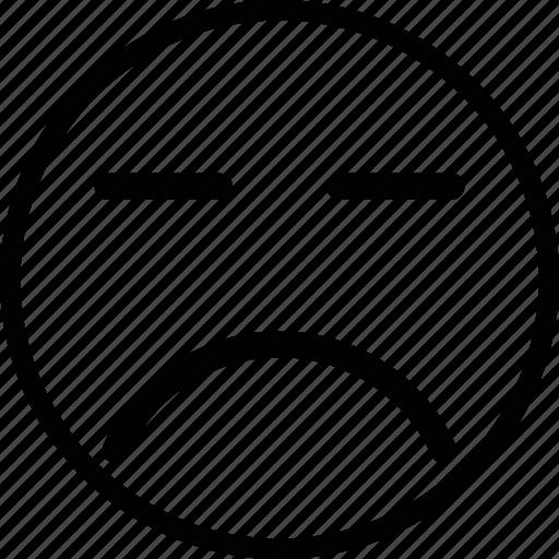 emoji, emoticon, expression, face, sad icon