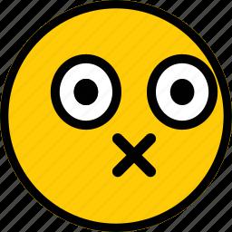 emoji, emoticon, expression, face, oops icon