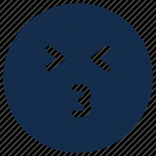 emoji, emoticon, emotion, happy, kiss icon
