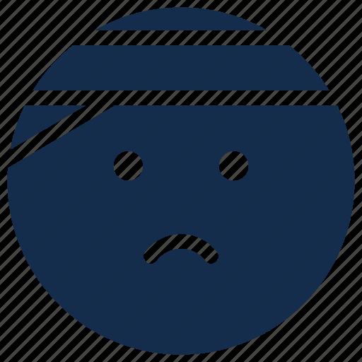 bandage, emoji, emoticon, emotion, injury, pain icon