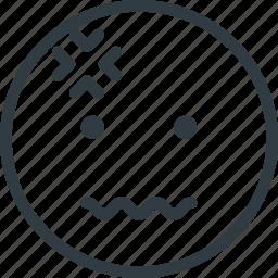 emoji, emote, emoticon, emoticons, headache icon
