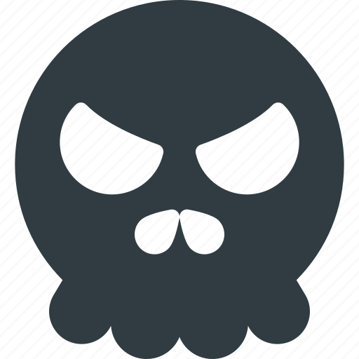 angry, emoji, emote, emoticon, emoticons, skull icon