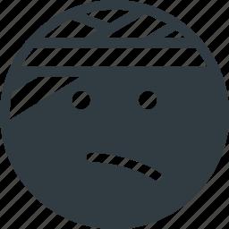 emoji, emote, emoticon, emoticons, injured icon