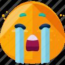 crying, emoji, emotion, face icon