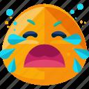 crying, emoji, emotion, feeling, sad icon