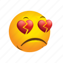 broken, disappointed, emoticon, heart icon
