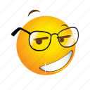 emoticon, geek, glasses, nerd, smart icon