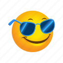 emoticon, glasses, sun icon