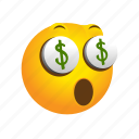 ambitious, emoticon, greedy, money icon