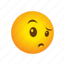 emoticon, suspicious icon