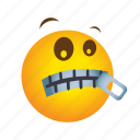 emoticon, zipper icon