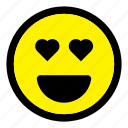 emoticon, emotion, expression, happy, heart, love, smiley icon