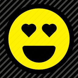 emoticon, emotion, expression, happy, heart, love, smiley icon