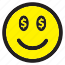 dollar, emoticon, emotion, happy, money, smiley icon