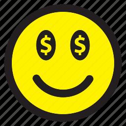 dollar, emoticon, emotion, happy, money, smiley icon