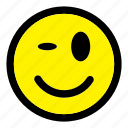 emoticon, expression, happy, smile, smiley, wink icon