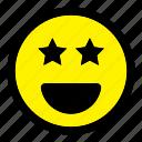 emoticon, emotion, expression, happy, smiley, star, starstruck