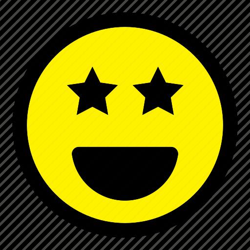 emoticon, emotion, expression, happy, smiley, star, starstruck icon