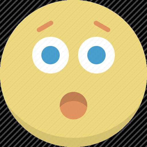 amazed, emoticon, emotion, expression, perplexed, smiley, surprised icon