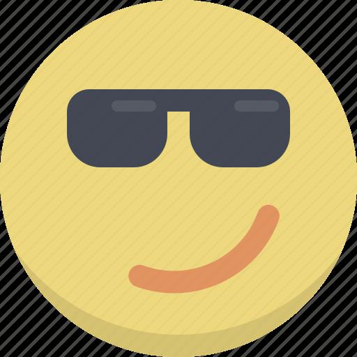 cool, emoticon, emotion, hipster, person, retro, smiley icon