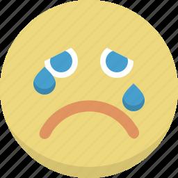 crying, emoticon, emotion, expression, person, sad, smiley icon