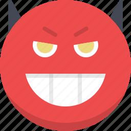 devil, emoticon, emotion, evil, face, satan, smiley icon
