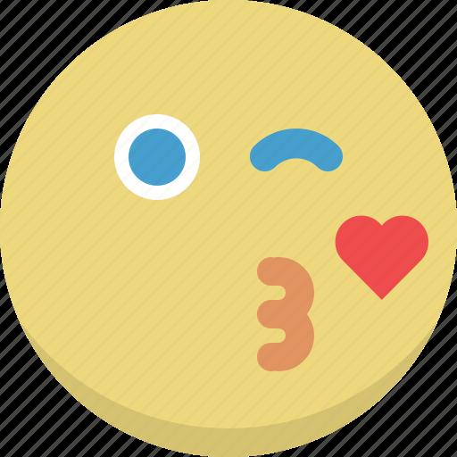 emoticon, emotion, expression, kiss, love, romantic, valentine icon