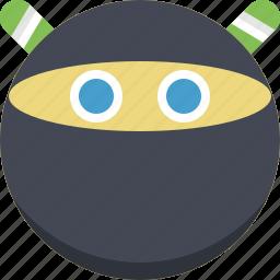 emoticon, emotion, expression, ninja, samurai, smiley, stealth icon