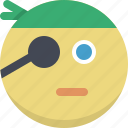 emoticon, emotion, expression, face, person, pirate, smiley icon