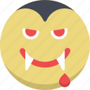 dracula, emoticon, emotion, expression, scary, smiley, vampire icon