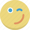 cool, emoticon, emotion, expression, fancy, smiley, wink icon
