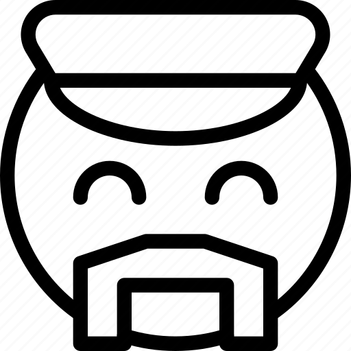 animation, cap, carefree, chat, creative, email, emoticon, expression, facial, facial-expression, gay, grid, line, mail, male, messages, mobile, moustache, round, shape, showy, smiley, web icon