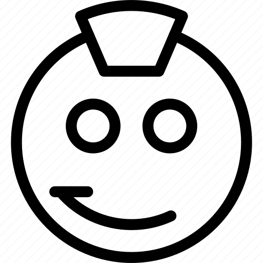 animation, attitude, cap, chat, creative, email, emoticon, expression, facial, facial-expression, grid, line, mail, messages, mobile, punk, round, shape, smiley, smirk, style, web, worthless icon