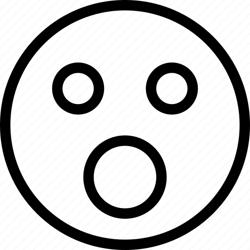animation, celebrations, chat, creative, email, emoticon, expression, facial, facial-expression, grid, line, mail, messages, mobile, mouth, round, shape, smiley, speechless, sudden, surprise, surprises, unexpected, web, wide-mouth icon