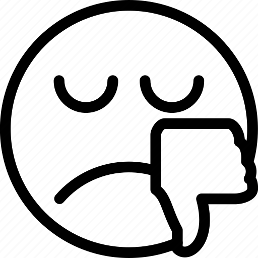 animation, bad-mood, chat, creative, demotivate, down, email, emoticon, expression, facial, facial-expression, failure, grid, line, loss, mail, messages, mobile, not-interested, round, sad, shape, smiley, thumbs, thumbs-down, thumbs-down-smiley, web icon