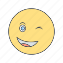 emoji, emoticon, face, wink icon