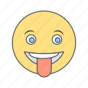 emoji, emoticon, stuck, tongue icon