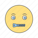 emoji, emoticon, face, mute icon