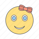 emoticon, face, girl, smiley icon