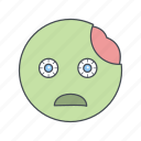 emoji, emoticon, face, zombie icon