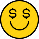 emotion, face, money, status icon