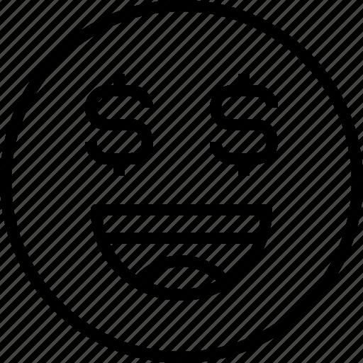 emoji, emotion, face, money, status icon