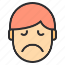 avatar, emotion, face, profile, sadness icon