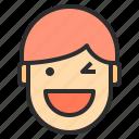 avatar, emotion, face, profile, winking icon