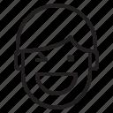 avatar, emotion, face, man, profile, winking icon