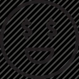 dollars, emoji, emotions, laugh, loud, money, smiley icon